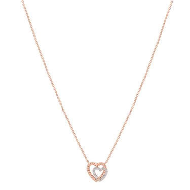 Argento Rose Gold Rope Heart Necklace  - Click to view larger image