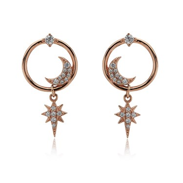 Argento Rose Gold Star Crystal Drop Earrings  - Click to view larger image