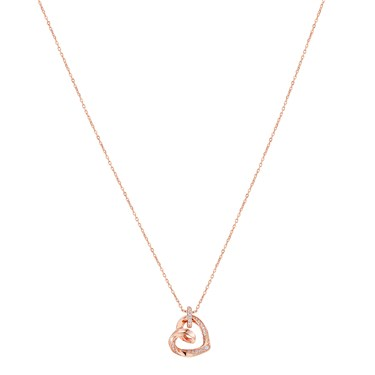 Argento Rose Gold Twist Heart Necklace  - Click to view larger image