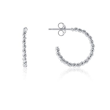 Argento Silver Crystal Rope Hoop Earrings  - Click to view larger image