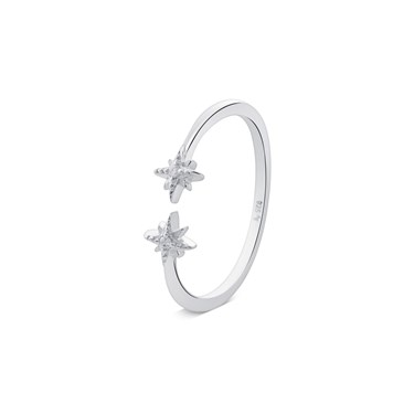 Argento Silver Double Star Ring  - Click to view larger image