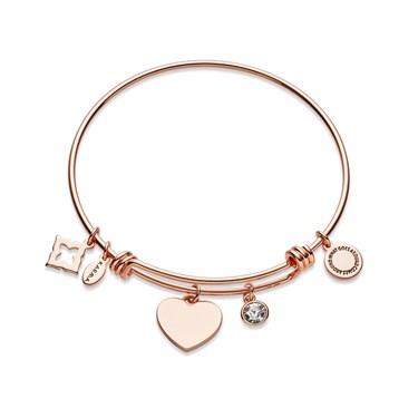 Karma Rose Gold Heart Crystal Bangle  - Click to view larger image