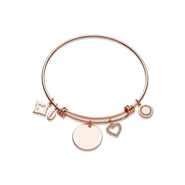 Karma Rose Gold Heart Disc Bangle  - Click to view larger image