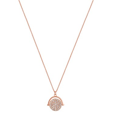 Karma Rose Gold Crystal Spinning Necklace  - Click to view larger image