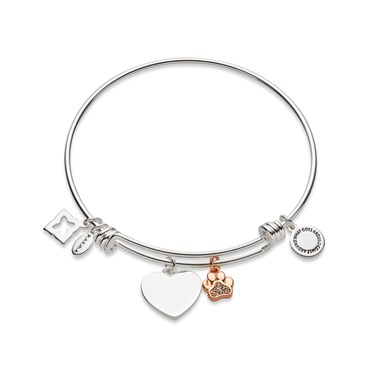 Karma Paw Print Heart Charm  - Click to view larger image