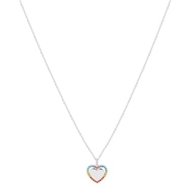 Argento Silver Rainbow Heart Necklace  - Click to view larger image