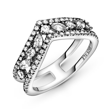 Pandora Sparkling Marquise Double Wishbone Ring  - Click to view larger image
