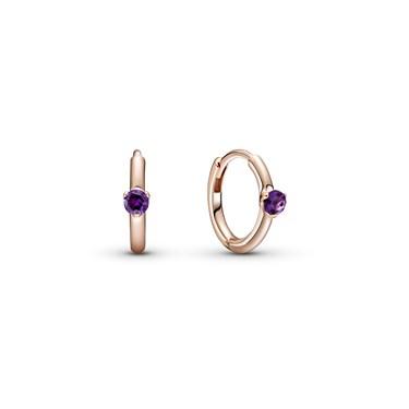 Pandora Purple Solitaire Huggie Hoop Earrings  - Click to view larger image