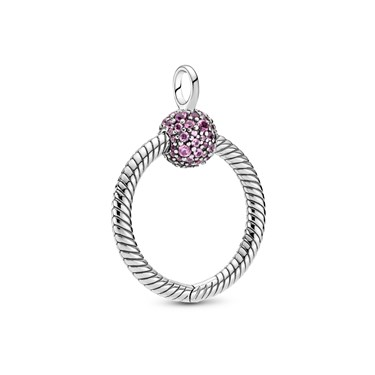 Pandora Small Moments Pink Crystal O Pendant  - Click to view larger image