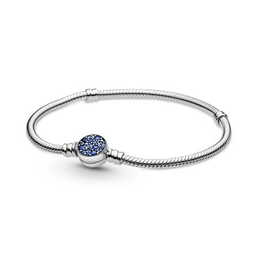 Pandora Moments Sparkling Blue Clasp Snake Chain Bracelet  - Click to view larger image