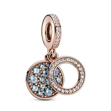 Pandora Sparkling Light Blue Disc Double Charm  - Click to view larger image