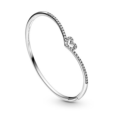 Pandora Sparkling Wishbone Heart Bangle  - Click to view larger image