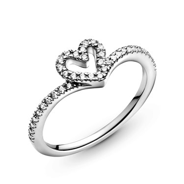 Pandora Sparkling Wishbone Heart Ring  - Click to view larger image