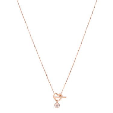 Argento Rose Gold T-Bar Crystal Heart Necklace  - Click to view larger image