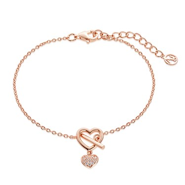 Argento Rose Gold T-Bar Crystal Heart Bracelet  - Click to view larger image