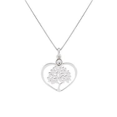 Argento Silver Tree Of Life Heart Necklace  - Click to view larger image