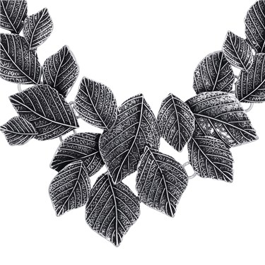 August Woods Silver Leaves Statement Necklace  - Click to view larger image