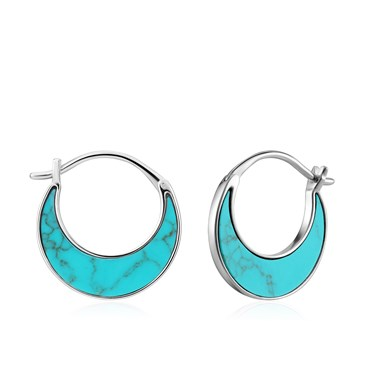 Ania Haie Tidal Turquoise Hoop Earrings  - Click to view larger image