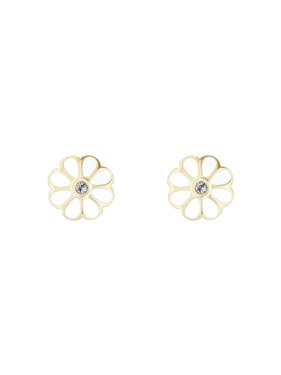 Ted Baker Gold + White Daisy Earrings  - Click to view larger image