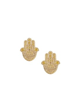 Vivienne Westwood Gold + Yellow Rojava Hand Earrings  - Click to view larger image