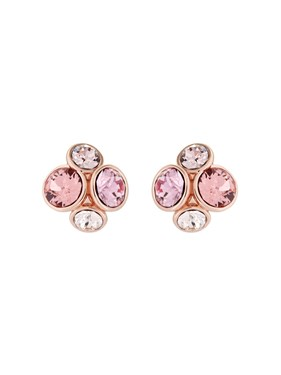 Ted Baker Rose Gold + Pink Cluster Earrings  - Click to view larger image