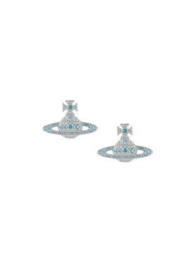 Vivienne Westwood Aqua Crystal Kika Earrings  - Click to view larger image