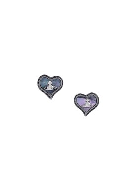 Vivienne Westwood Black Petra Heart Earrings  - Click to view larger image