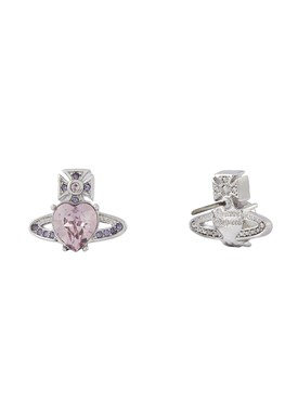 Vivienne Westwood Silver + Purple Ariella Heart Earrings   - Click to view larger image