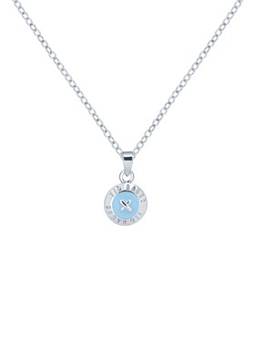 Ted Baker Silver + Aqua Elvina Button Necklace   - Click to view larger image