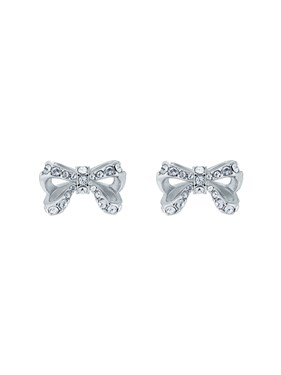 Ted Baker Silver Petite Crystal Bow Earrings   - Click to view larger image