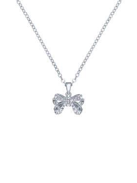 Ted Baker Silver Petite Crystal Bow Necklace   - Click to view larger image
