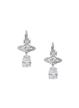 Vivienne Westwood Silver Ismene Crystal Drop Earrings  - Click to view larger image