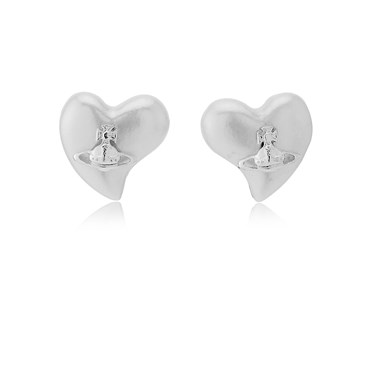 Vivienne Westwood Silver Heart Lynette Earrings   - Click to view larger image