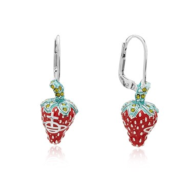 Vivienne Westwood Silver Strawberry Leonela Drop Earrings  - Click to view larger image