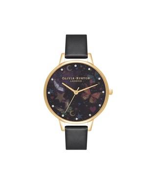 Olivia Burton Black & Gold Butterflies Vegan Watch  - Click to view larger image