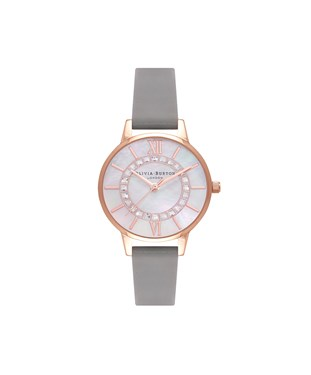 Olivia Burton Grey & Rose Gold Wonderland Sparkle Watch  - Click to view larger image