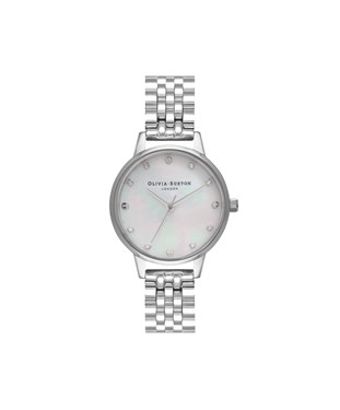 Olivia Burton Silver Mother Of Pearl Dial Bracelet Watch  - Click to view larger image