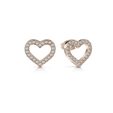Guess Rose Gold Crystal Heart Frame Earrings 1