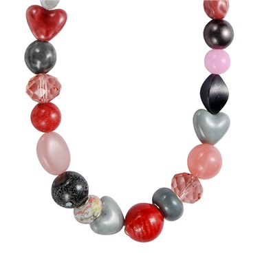 Karma Red and Pink Bead Necklace
