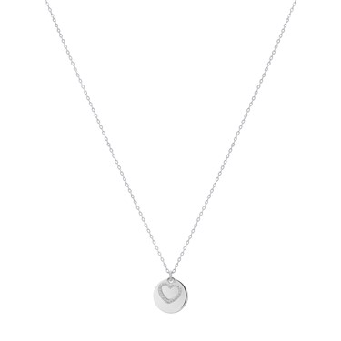 Argento Silver Heart Coin Necklace  - Click to view larger image