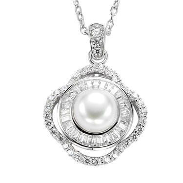 Argento Crystal Framed Pearl Necklace