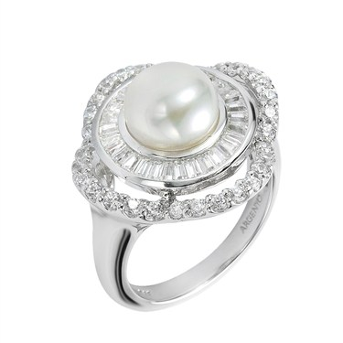 Argento Crystal Framed Pearl Ring