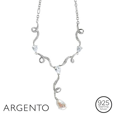 Argento Crystal Cascade Pearl Necklace