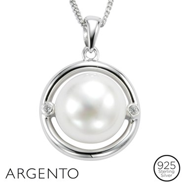 Argento Silver Circle Pearl Necklace