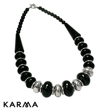 Karma Black and Silver Beaded Necklace