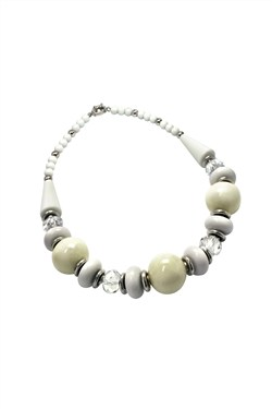 Karma Cream and White Beaded Necklace
