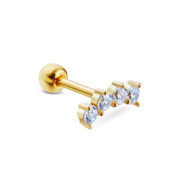 Argento Gold Curved Crystal Single Barbell Earring
