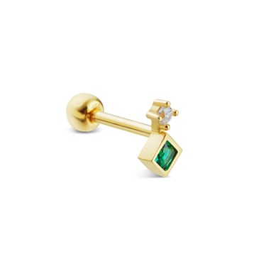 Argento Gold Emerald Single Barbell Earring