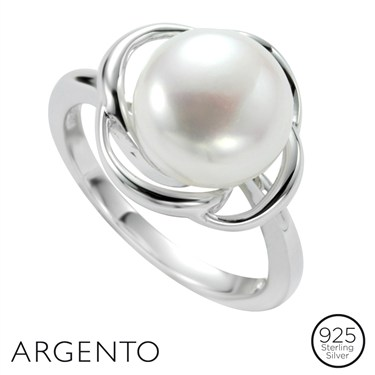 Argento Silver Twist Pearl Ring