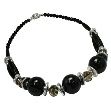 Karma Black Bead and Crystal Necklace